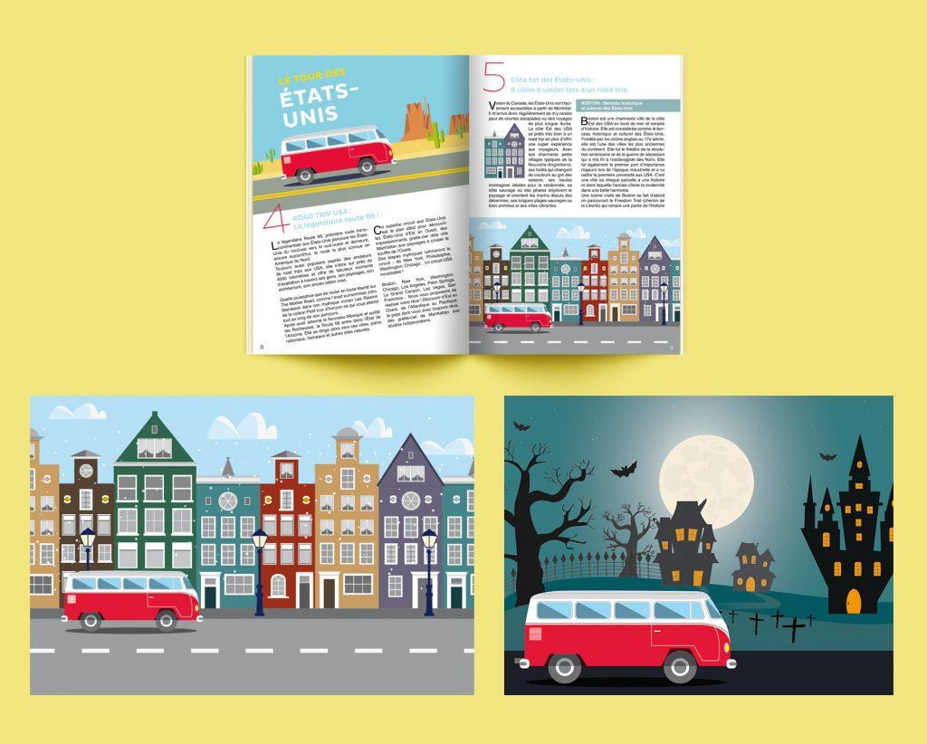 Création d'illustrations avec un combi Volkswagen