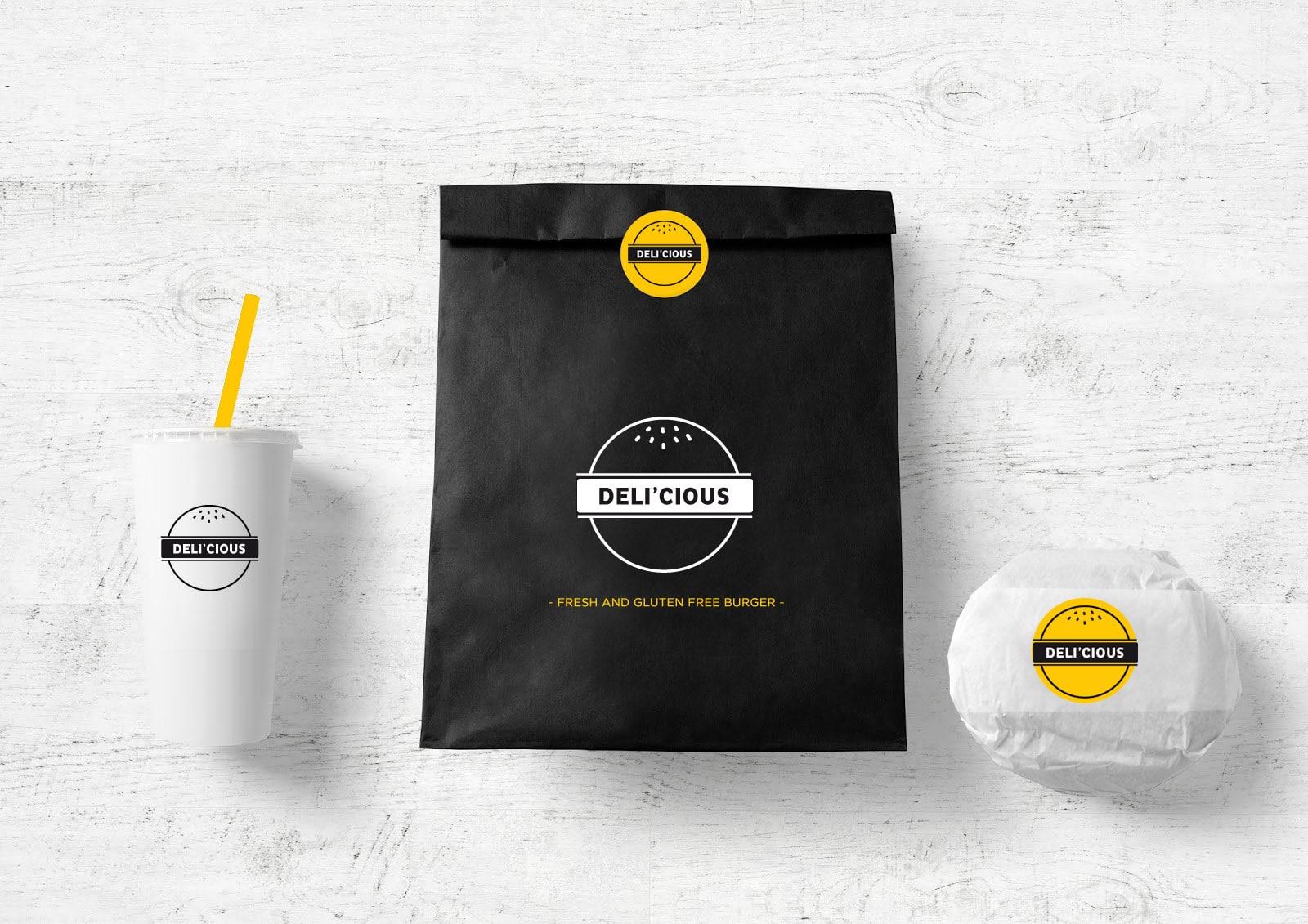 logotype et déclinaison packaging de la marque Deli'Cious