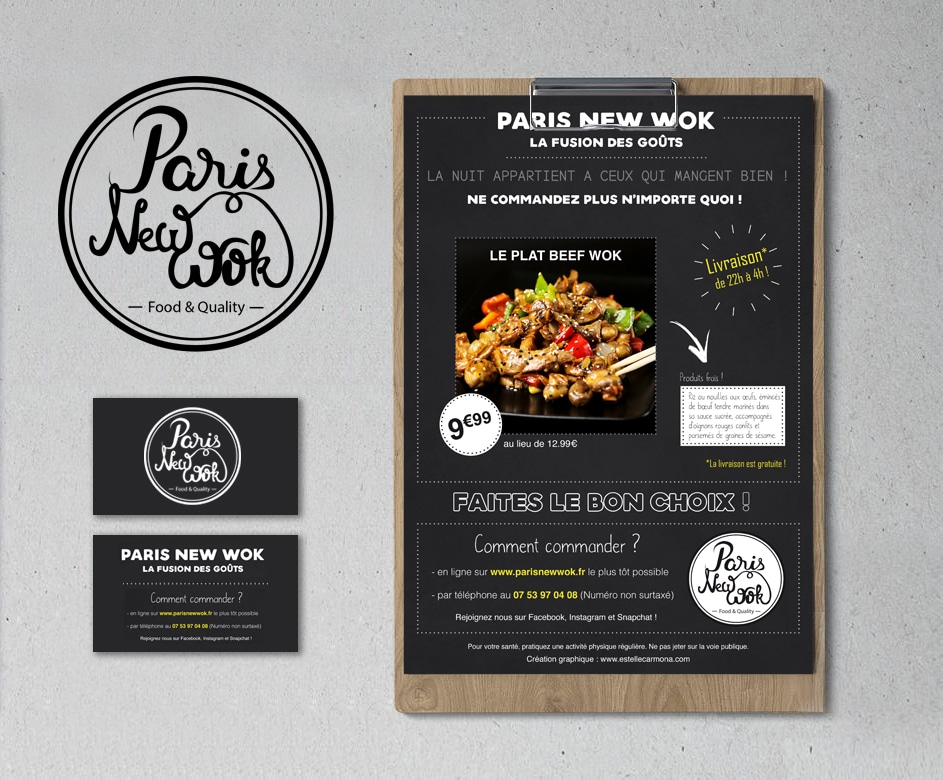 identité visuelle du restaurant Paris New Wok