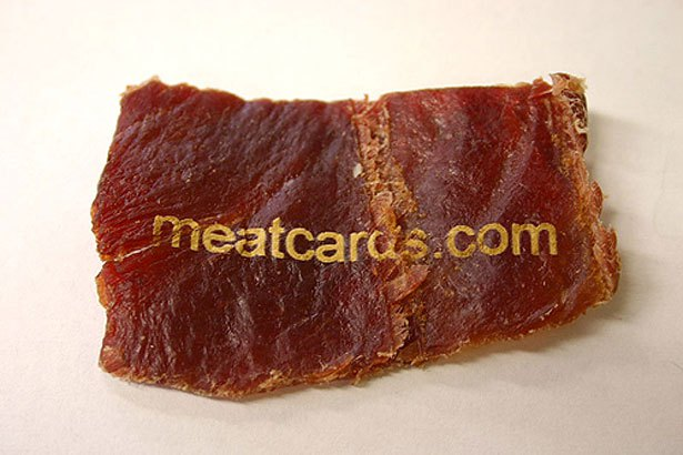 carte de visite en viande séchée