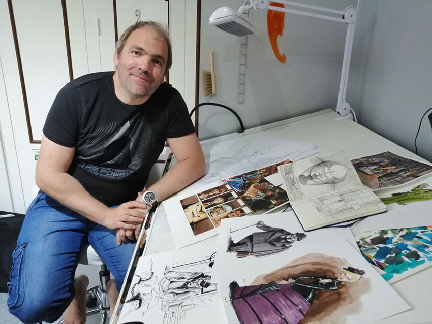 Artnoz dans son atelier