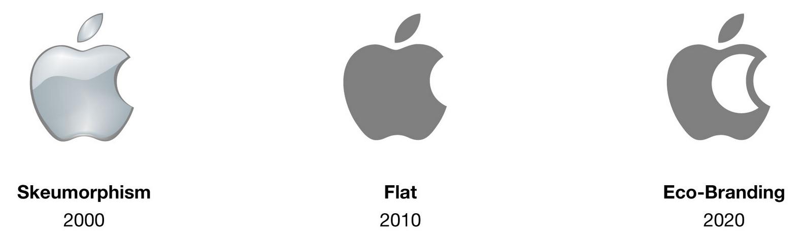 Evolution du logo Apple vers un logo eco conçu