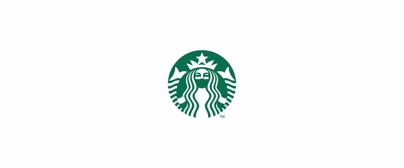 La logo de Starbucks en version masquée