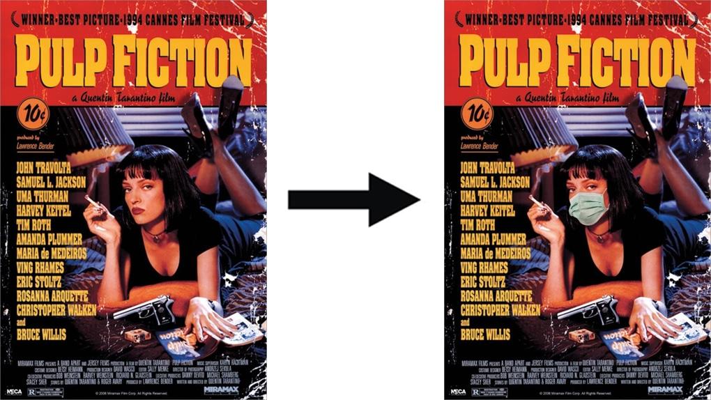 Illustration de Victor Chevalier détournant l'affiche du film Pulp Fiction
