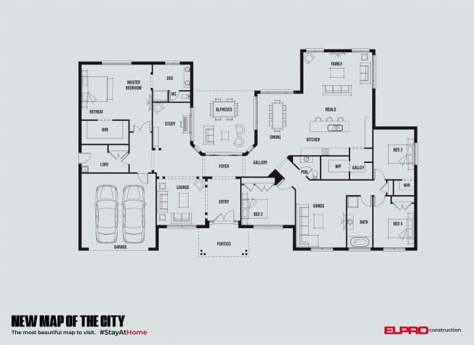 "Print de la campagne ""New map of the city"" d'Elpro Construction"