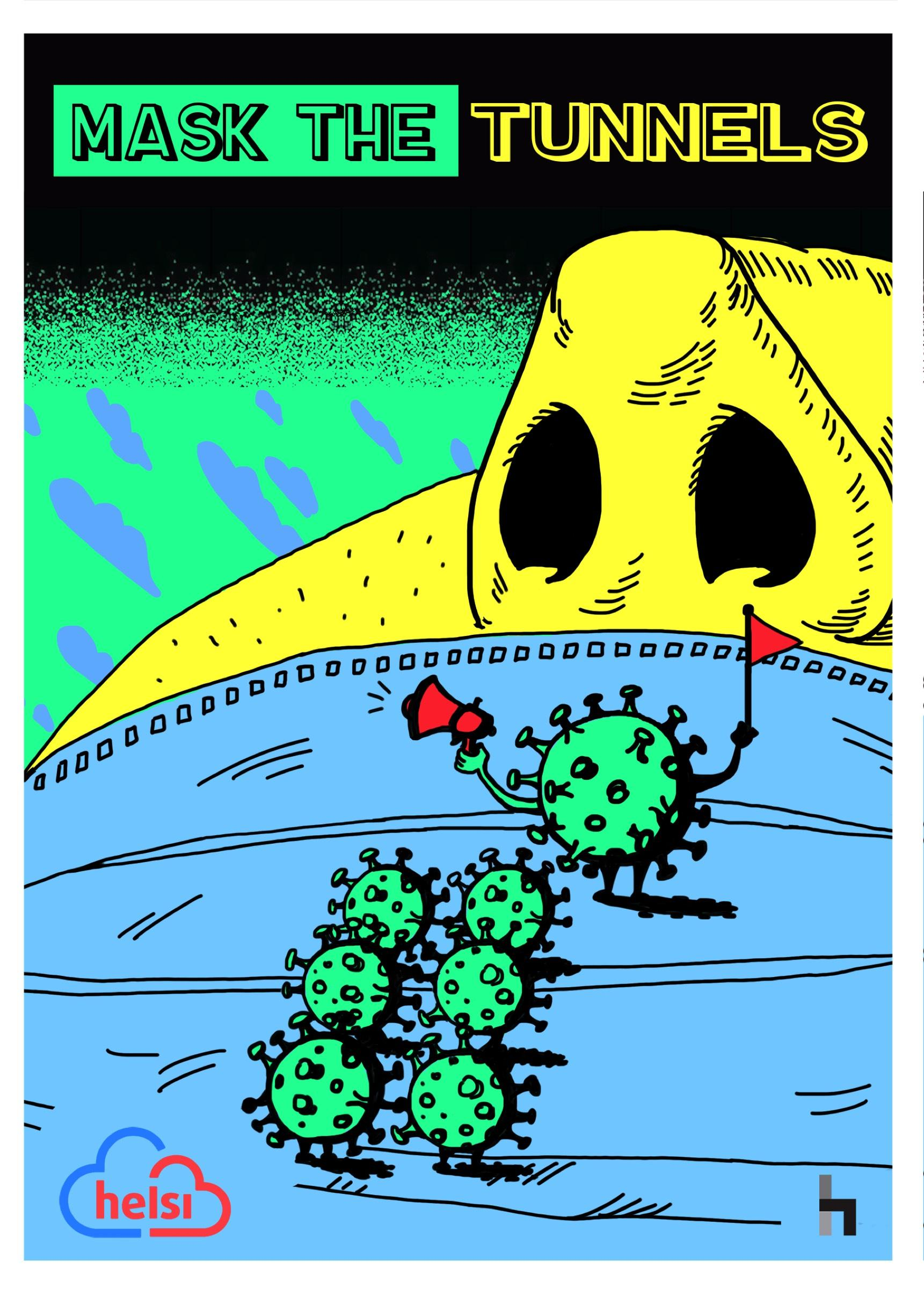 "Print de la campagne ""Mask the tunnels"" d'Helsi"