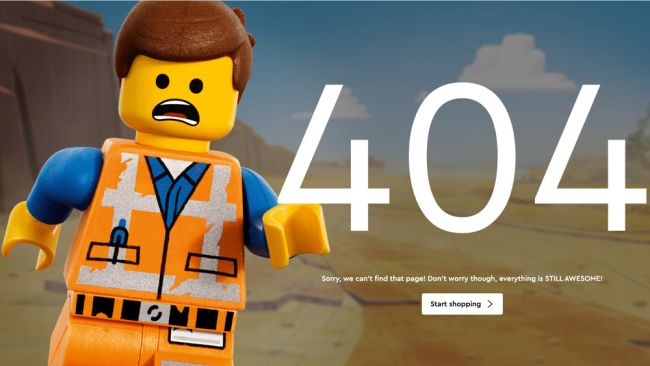 page erreur 404 Lego