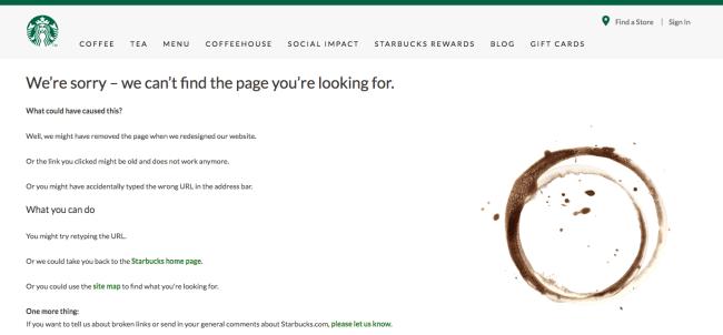Starbucks page 404