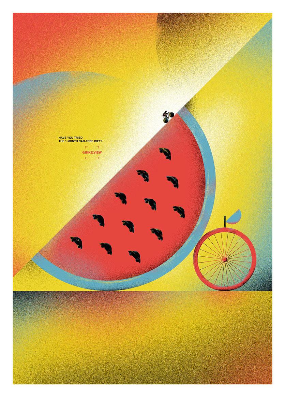 campagne d'affichage en faveur de l'utilisation du vélo