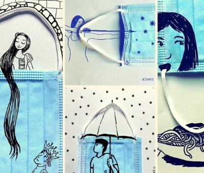Cet illustrateur utilise les masques comme une toile pour créer des visuels amusants