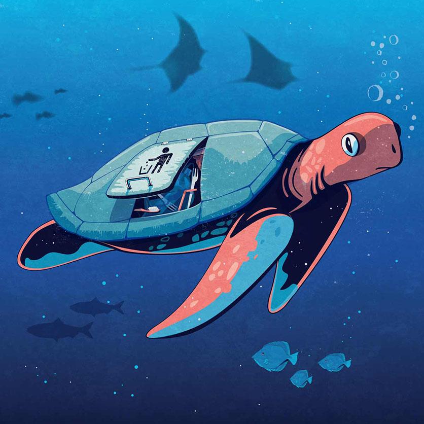 Dessin de Iconeo sur la protection de la faune marine