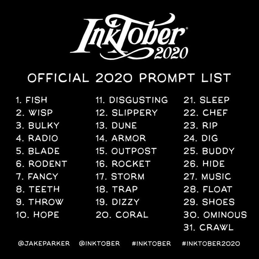 Inktober 2020 : liste des thèmes