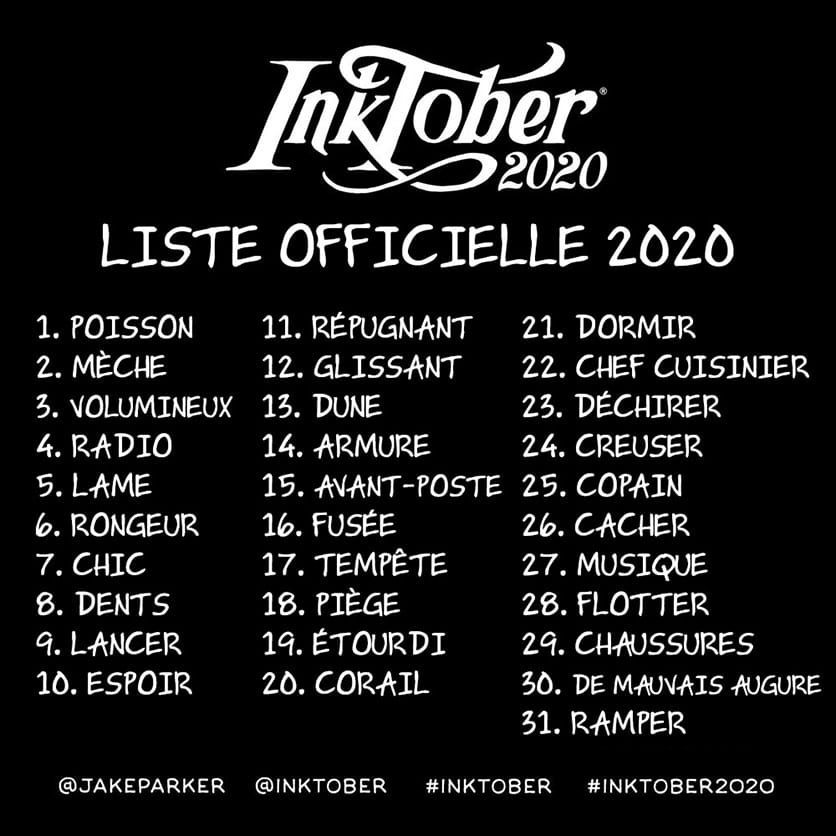 Inktober 2020 : liste des thème en français