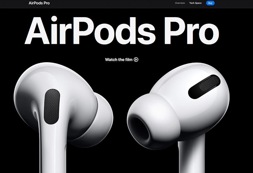 page de vente Airpods