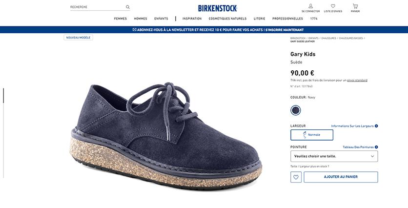 page de vente Birkenstock