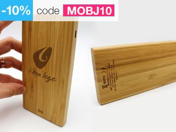 batterie externe bois smartphone