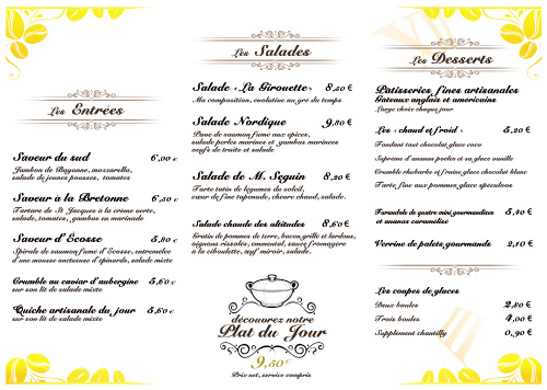 Creer Menu De Restaurant Exemple Et Modeles De Creation Menus De Restaurant